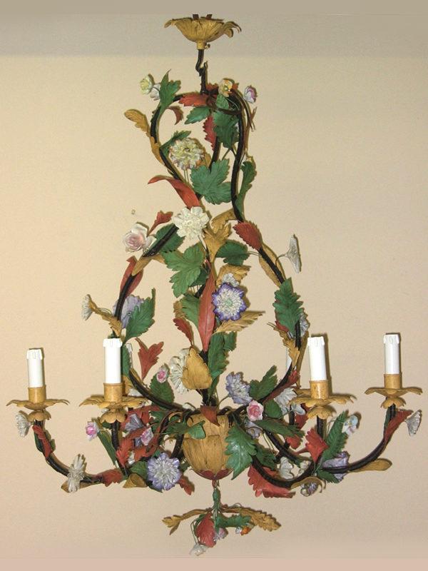 LAMPADARIO Con fiori in porcellana COD131