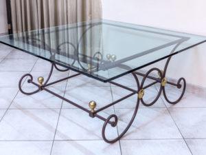 tavolino-in ferro CON PIANO IN VETRO COD140